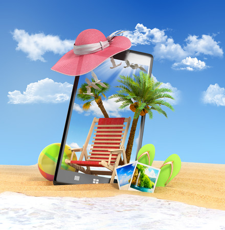 look out: different objects on a summer theme look out from the phone screen is inserted in the sand on the beach 3d render