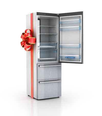 refrigerator kitchen: Kitchen appliances. Refrigerator in gift ribbon. 3d illustration Stock Photo