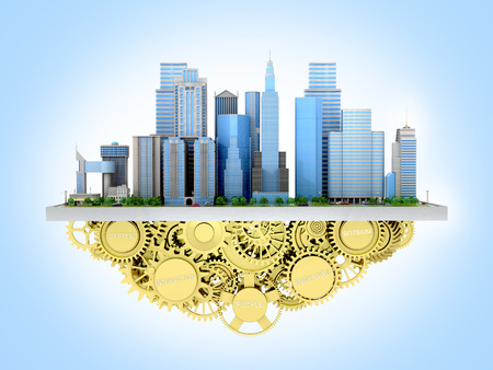 canary wharf: 3d image of the city to stand with gears.3D illustration