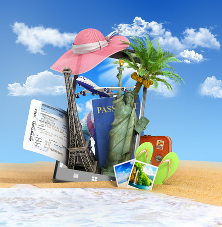 look out: different attractions for the summer look out the theme of the screen the phone is inserted into the sand at the beach 3D rendering