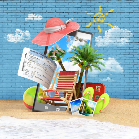 look out: different objects on a summer theme look out from the phone screen is inserted in the sand on the beach against the background of a brick wall 3d render