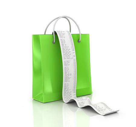 receipts: shopping bags and long Receipts Over White Background. 3d illustration Stock Photo