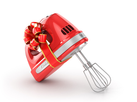 kitchen appliances: Kitchen appliances. Kitchen mixer in gift ribbon. 3d illustration Stock Photo