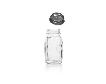 sliver: Empty salt and pepper shakers on a white background