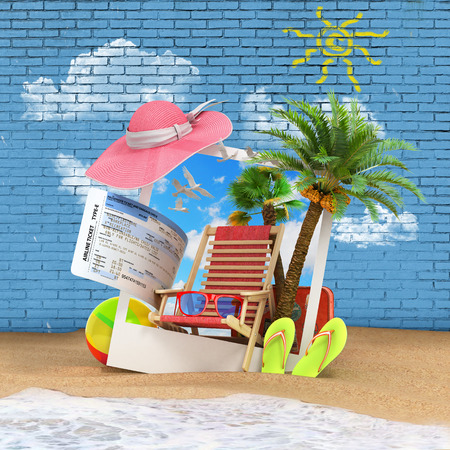 look out: VT different objects on a summer theme look out from the Polaroid photo screen is inserted in the sand on the beach against the background of a brick wall 3d render Stock Photo