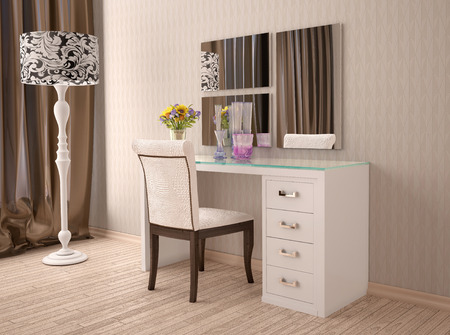 dressing table: 3d illustration of white dressing table with a mirror in modern style Stock Photo