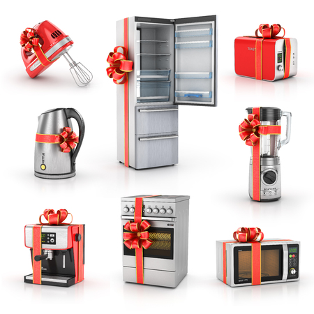 Set of kitchen gifts. Blender, mixer, toaster, coffee machine, kettle, plate, fridge and microwave. Kitchen appliances in gift ribbon. 3d illustration