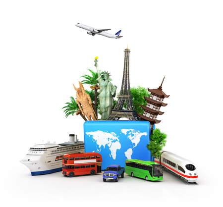 oncept: ?oncept of travel and tourism, attractions and world blue suitcase trucks for elom background. 3D illustrations