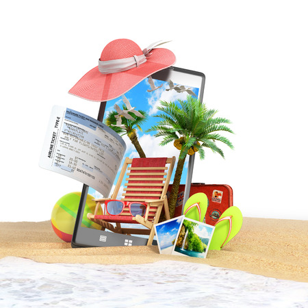 look out: different objects on a summer theme look out from the phone screen is inserted in the sand on the beach on white 3d render Stock Photo