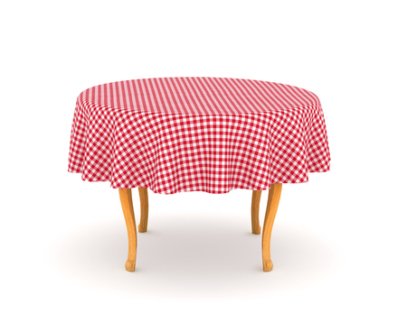 dining table: Dining table with tablecloth. 3d illustration isolated on white background