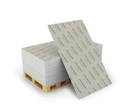 Stack drywall sheets stacked on wooden pallets, isolated white background. 3D illustration