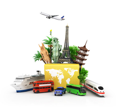 oncept: Сoncept of travel and tourism, attractions and world yellow suitcase trucks for elom background. 3D illustrations