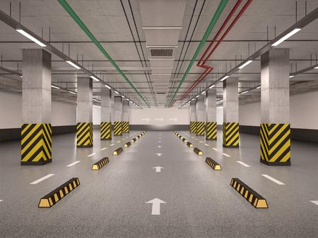 3D-afbeelding van lege ondergrondse parkeergarage