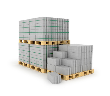 aerated: Aerated concrete blocks stacked on wooden pallets. Building materials on a white background. 3D illustration