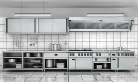 cocinas industriales: fachada de la cocina profesional. Ver la superficie de acero inoxidable.