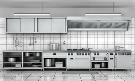domestic kitchen: Professional kitchen facade. View surface in stainless steel.