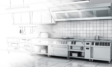 domestic kitchen: Professional kitchen and equipment on surface half-painted. View surface in stainless steel.