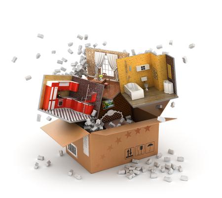 移動の概念。充填包装と段ボール箱から飛んでのインテリア パーツ。キッチン、浴室、食堂、寝室の部分。3 d 図