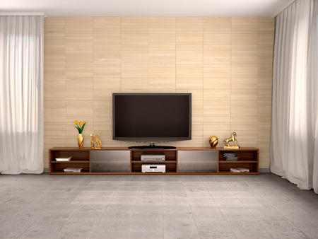 living room design: 3d illustration of Modern living room with flat screen TV and a cupboard