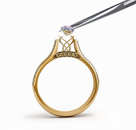 pincet voegt diamanten ring 3D-afbeelding Stockfoto