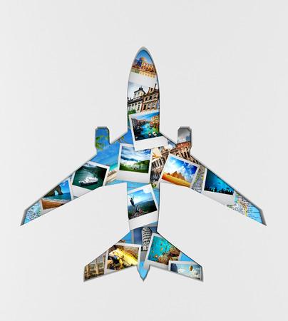 airplane travel: Travel the world monument concept.  3d illustration