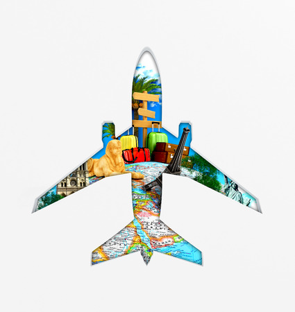 a window on the world: Concept  travel around the world, trips. View through an airplane window. 3d illustration