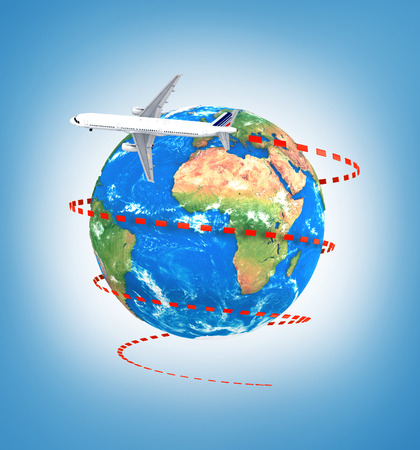 surprisingly: Concept of travel around earth. Plane with visual trajectory around earth on a blue background. 3d illustration