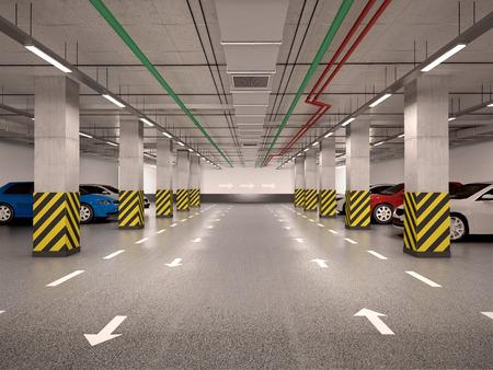자동차와 지 하 주차장 3d 그림 스톡 콘텐츠