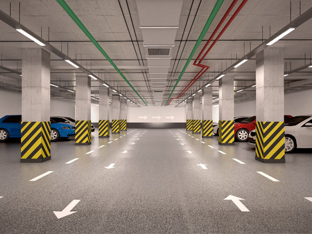 parking lot interior: 3d illustration of underground parking with cars