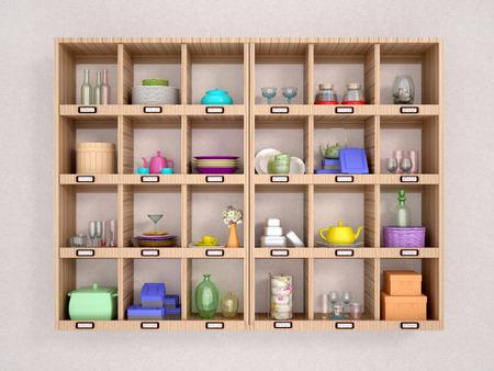 wooden shelves: 3d illustration of colorful and bright kitchen utensils on wooden shelves