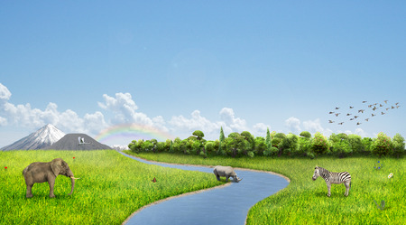 harmony nature: Concept of nature. Meadow with animals, forest and mountains on the horizon. River in the center. Concept of harmony. Stock Photo