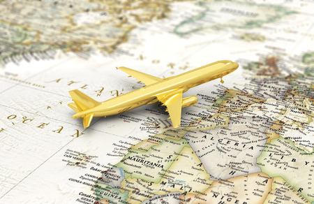 oncept: ?oncept of flight, journey. Golden aircraft on the world map. 3d illustration Stock Photo