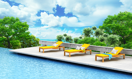 loungers: Vacation concept. Swimming pool with loungers and tree on a open landscape background. 3d illustration