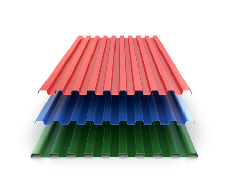 corrugation: Steel colored goffered plates for roof decoration. 3d illustration