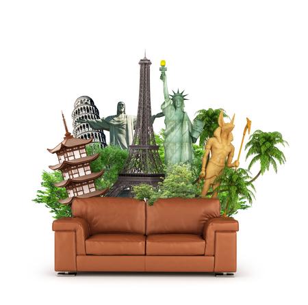 Concepto de viaje Mundo de atracciones y sofá aislado sobre fondo blanco. Soñando con viajar sentado en el sofá. Ilustración 3d Foto de archivo