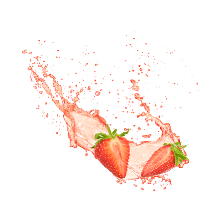 Strawberry juice isolated on white background