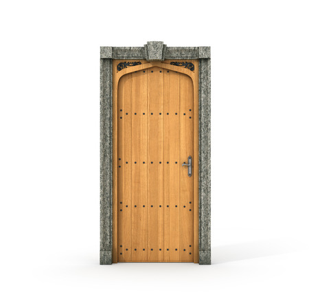 architectural styles: Ancient wooden door. Castle door isolated on a white background. 3d illustration