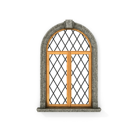 Ancient wooden window. Castle window isolated on a white background. 3d illustration Фото со стока