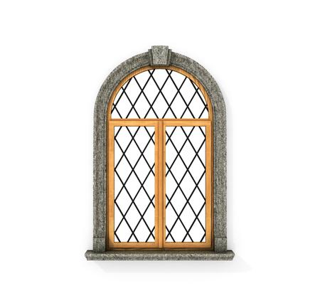 Oude houten raam. Kasteel venster geïsoleerd op een witte achtergrond. 3d illustratie Stockfoto