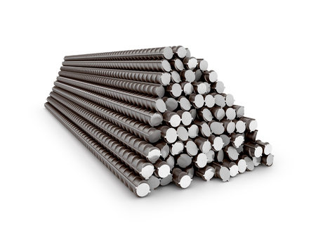 reinforced: The bars of reinforcement. A set of reinforced steel. 3D illustration Stock Photo