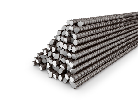 round rods: The bars of reinforcement. A set of reinforced steel. 3D illustration Stock Photo