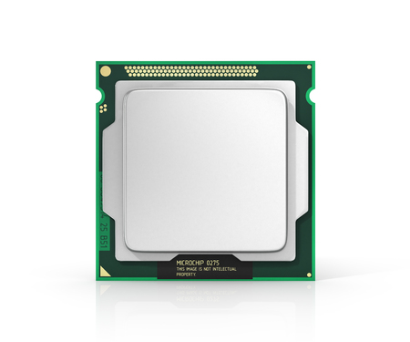 laptop icon: Processor. Computer processor with blank space. Hardware. 3d illustration Stock Photo
