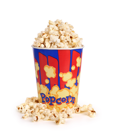 edibles: Full bucket of popcorn. Isolated on white
