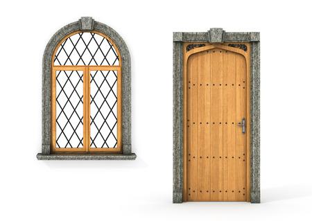 Puerta de madera antigua y de la ventana. Conjunto de puerta del castillo y de la ventana aislado en un fondo blanco. 3d ilustración