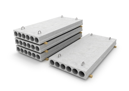 slab: Construction of concrete slab isolated white background. 3d illustration.