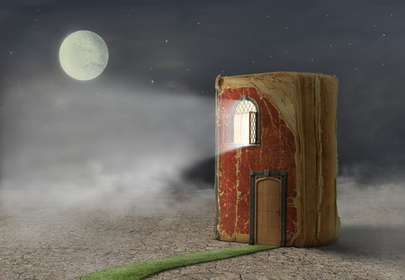Concept of reading. Magic book with door and shining window. Book stay on ground. Concept of dreaming.