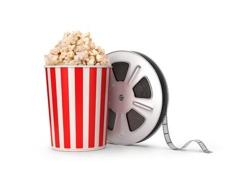 The film reel and popcorn. 3d illustration