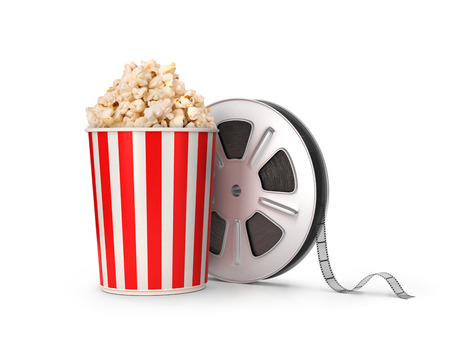 drive through: The film reel and popcorn. 3d illustration