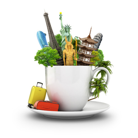 The most popular travel landmarks in the cup of coffee or tea with suitcase and palm trees. 3d illustration