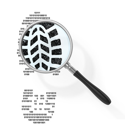 boot print: Magnifier over boot print in form of binary code out of view magnifying glass. Find the hacker. 3d illustration